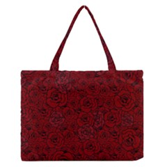 Red Roses Field Medium Zipper Tote Bag