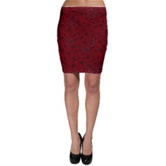 Red Roses Field Bodycon Skirt