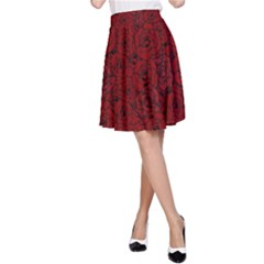 Red Roses Field A Line Skirt