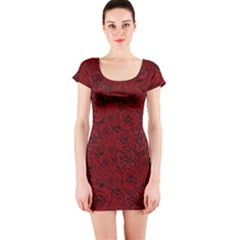 Red Roses Field Short Sleeve Bodycon Dress