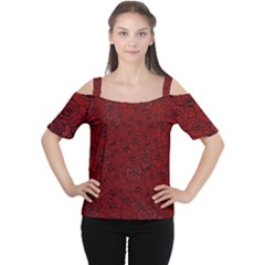 Red Roses Field Women s Cutout Shoulder Tee