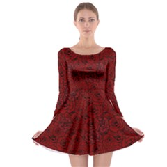 Red Roses Field Long Sleeve Skater Dress