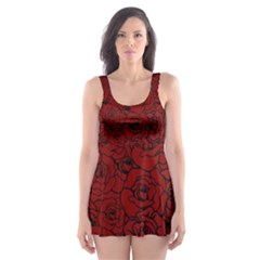 Red Roses Field Skater Dress Swimsuit