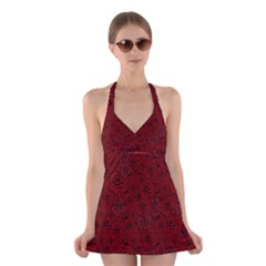 Red Roses Field Halter Swimsuit Dress