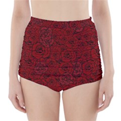 Red Roses Field High Waisted Bikini Bottoms