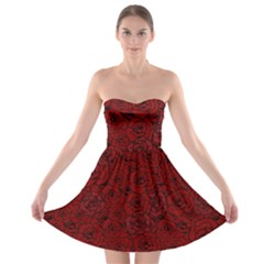 Red Roses Field Strapless Bra Top Dress