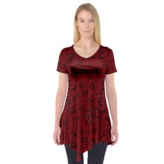 Red Roses Field Short Sleeve Tunic  by designworld65