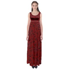 Red Roses Field Empire Waist Maxi Dress