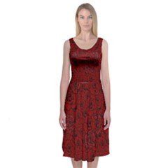 Red Roses Field Midi Sleeveless Dress