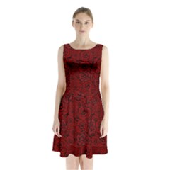 Red Roses Field Sleeveless Chiffon Waist Tie Dress
