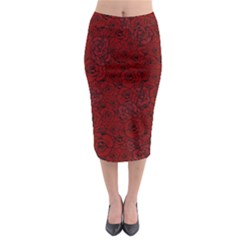 Red Roses Field Midi Pencil Skirt