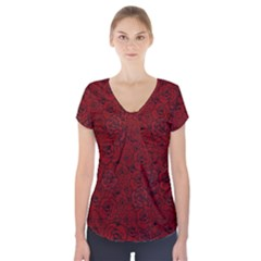 Red Roses Field Short Sleeve Front Detail Top