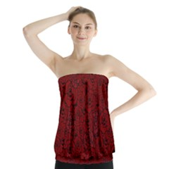 Red Roses Field Strapless Top