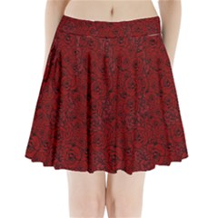 Red Roses Field Pleated Mini Skirt