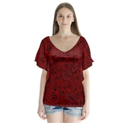 Red Roses Field Flutter Sleeve Top