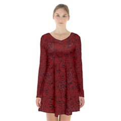 Red Roses Field Long Sleeve Velvet V Neck Dress