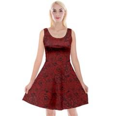 Red Roses Field Reversible Velvet Sleeveless Dress
