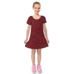 Red Roses Field Kids  Short Sleeve Velvet Dress