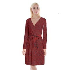 Red Roses Field Long Sleeve Velvet Front Wrap Dress