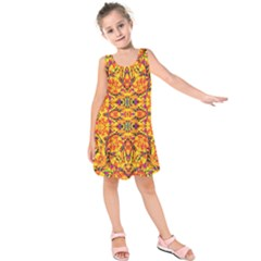 Colorful Vibrant Ornate Kids  Sleeveless Dress by dflcprintsclothing