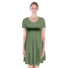 Trendy Basics   Trend Color Kale Short Sleeve V Neck Flare Dress by tarastyle