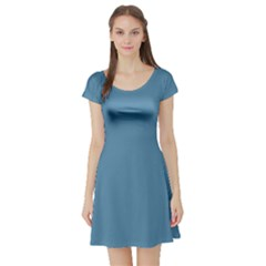 Trendy Basics   Trend Color Niagara Short Sleeve Skater Dress by tarastyle