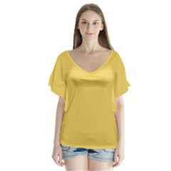 Trendy Basics   Trend Color Primerose Yellow Flutter Sleeve Top by tarastyle