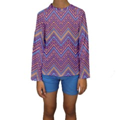 Colorful Ethnic Background With Zig Zag Pattern Design Kids  Long Sleeve Swimwear by TastefulDesigns