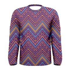 Colorful Ethnic Background With Zig Zag Pattern Design Men s Long Sleeve Tee by TastefulDesigns