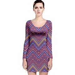 Colorful Ethnic Background With Zig Zag Pattern Design Long Sleeve Velvet Bodycon Dress by TastefulDesigns