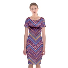 Colorful Ethnic Background With Zig Zag Pattern Design Classic Short Sleeve Midi Dress by TastefulDesigns