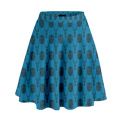 Lion Vs Gazelle Damask In Teal High Waist Skirt by emilyzragz