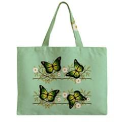 Four Green Butterflies Zipper Mini Tote Bag by linceazul