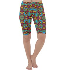 Geometric Multicolored Print Cropped Leggings  by dflcprintsclothing