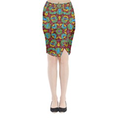Geometric Multicolored Print Midi Wrap Pencil Skirt by dflcprintsclothing