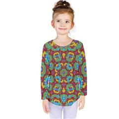 Geometric Multicolored Print Kids  Long Sleeve Tee by dflcprintsclothing