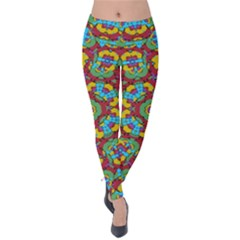 Geometric Multicolored Print Velvet Leggings by dflcprintsclothing