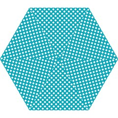 Sleeping Kitties Polka Dots Teal Mini Folding Umbrellas by emilyzragz