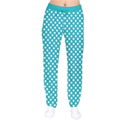Sleeping Kitties Polka Dots Teal Drawstring Pants by emilyzragz