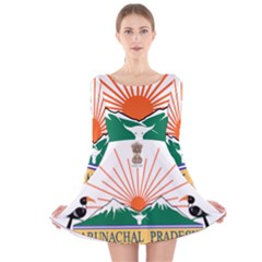 Indian State Of Arunachal Pradesh Seal Long Sleeve Velvet Skater Dress by abbeyz71