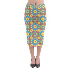Geometric Check Multicolored Pattern Midi Pencil Skirt by dflcprintsclothing