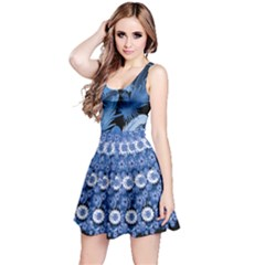 Blue Floral Feather Reversible Sleeveless Dress