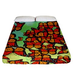 Monarch Butterflies Fitted Sheet (california King Size) by linceazul