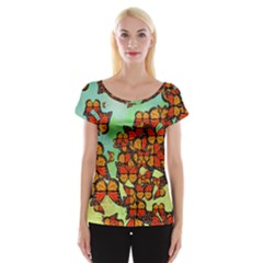 Monarch Butterflies Women s Cap Sleeve Top by linceazul