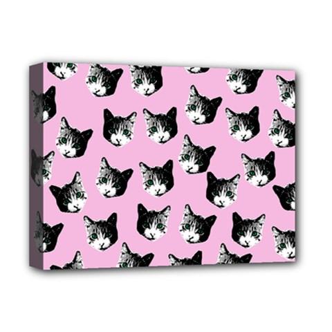 Cat Pattern Deluxe Canvas 16  X 12   by Valentinaart