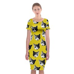 Cat Pattern Classic Short Sleeve Midi Dress by Valentinaart