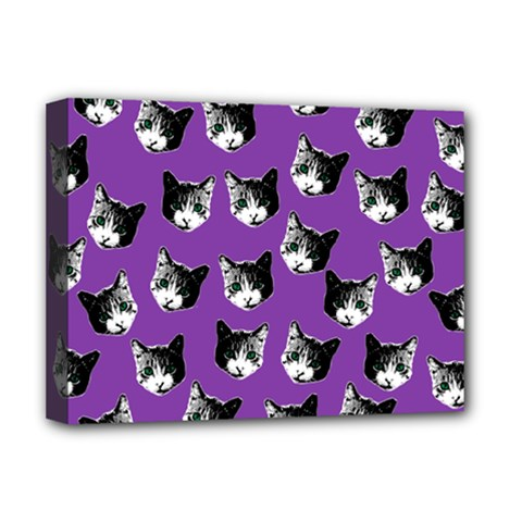 Cat Pattern Deluxe Canvas 16  X 12   by Valentinaart