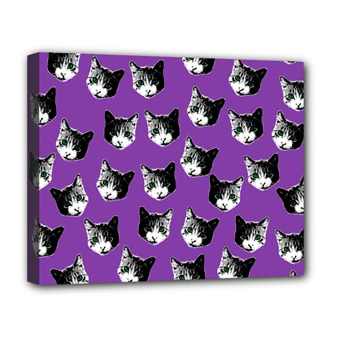 Cat Pattern Deluxe Canvas 20  X 16   by Valentinaart