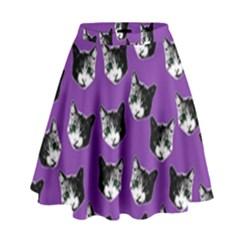 Cat Pattern High Waist Skirt by Valentinaart