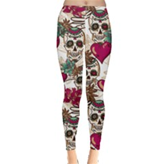 Sugar Skull Love Leggings Leggings  by Sissy